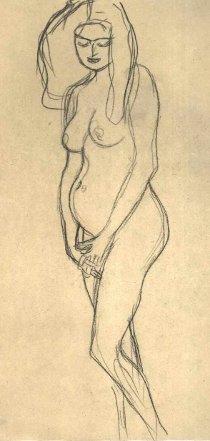 Gustav Klimt: Grávida nua olhando à esquerda