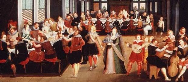 Louis de Caullery: Cena de banquete no interior de um palácio (detalhe)