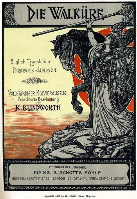 Capa da partitura com as partes vocais na edição da Schott, 1899