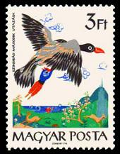 Selo húngaro mostrando Simbad e o pássaro Roca