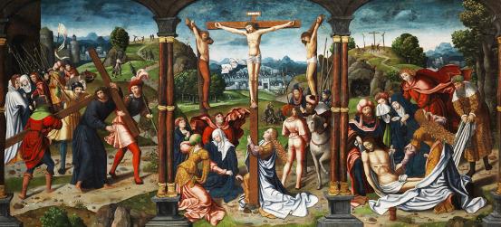 Pintor austríaco anônimo séc. XVI: Pintura de altar com cena do calvário