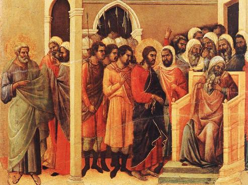 Duccio di Buoninsegna: Cristo diante de Caifás