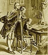 Mozart, o pai e seu grande amigo Schachtner, que deixou valiosas referências sobre a infância do compositor, como a curiosidade de que Mozart tinha medo do som do trompete.