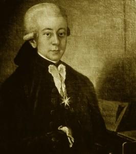"""Mozart exibindo a comenda recebida do papa, que lhe deu o título de Cavaleiro (""""Ritter"""", em alemão)."""