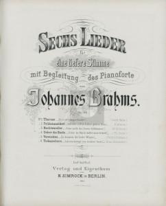 """Primeira edição dos """"Sechs Lieder Op. 86"""" de Brahms, Berlin: N. Simrock, 1882"""