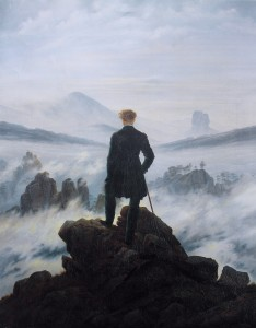 """Caspar David Friedrich: """"Der Wanderer über dem Nebelmeer"""" (O Viajante sobre o Mar de Névoa"""") (1818)"""