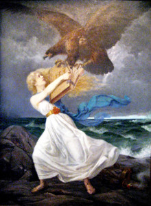 """Ataque (1899), de Edvard Isto (1865-1905), simbolizando a resistência finlandesa à chamada """"russificação"""" – a águia de duas cabeças da Rússia arranca o livro da lei dos braços da dama finlandesa."""
