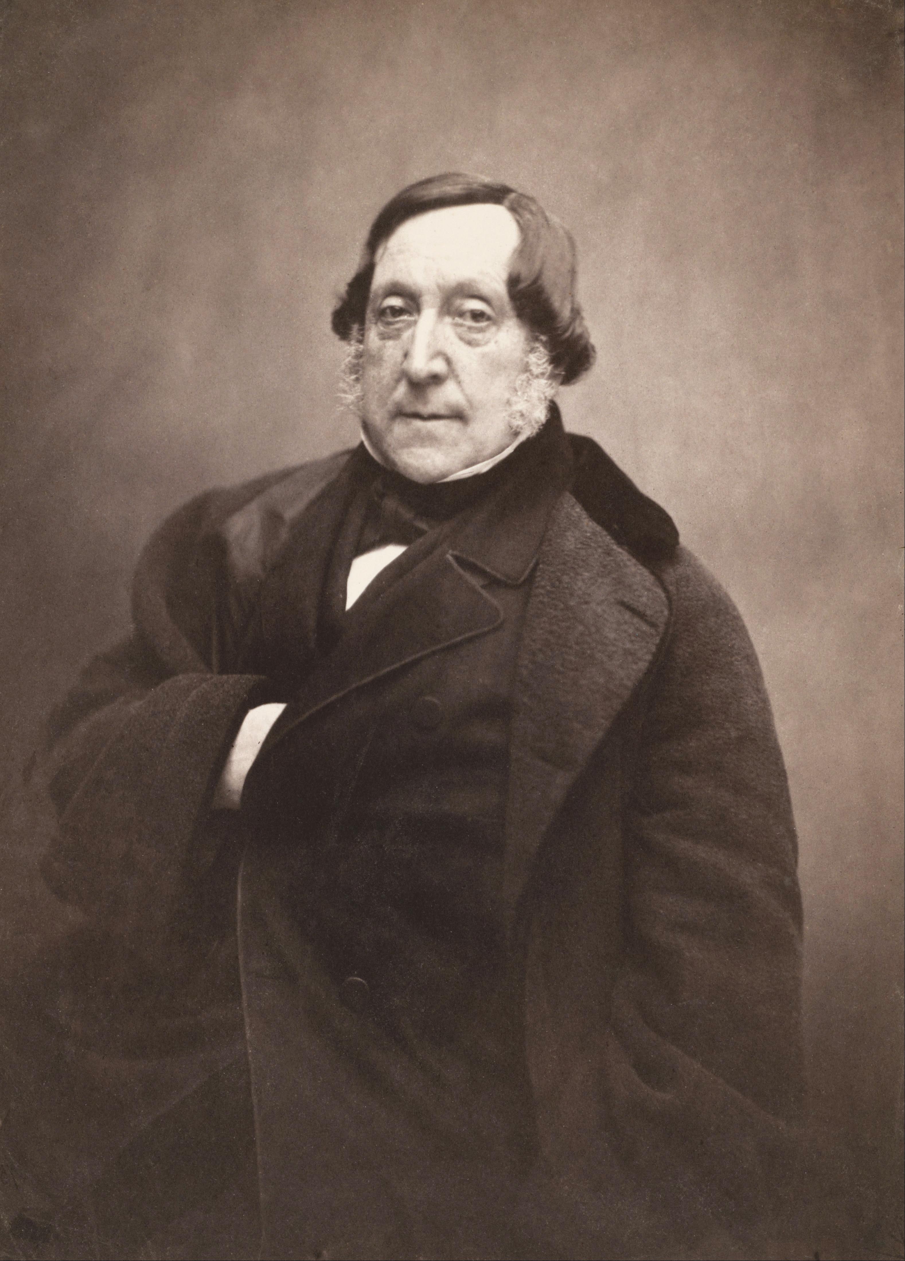 Rossini fotografado por Félix Nadar em torno de 1856.