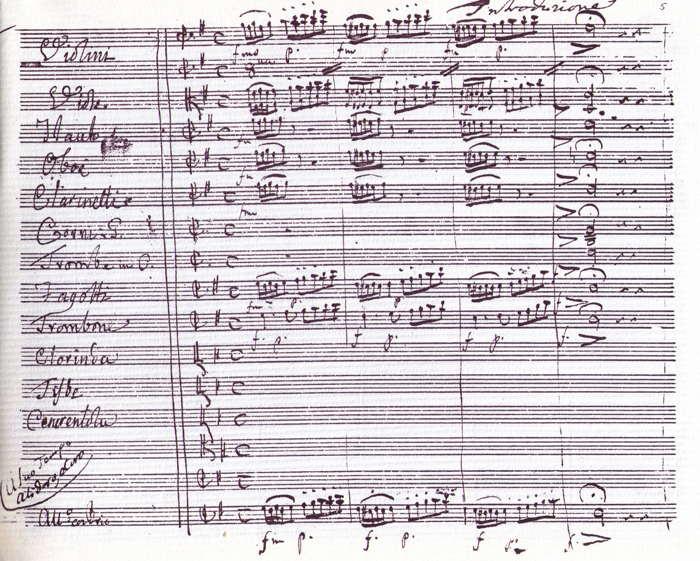 Autógrafo de La Cenerentola (Accademia Filarmonica di Bologna).