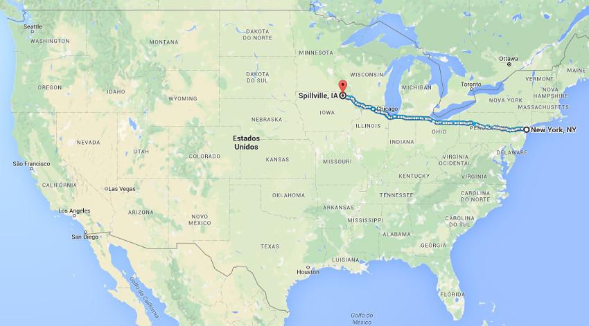 Mapa: NY a Spillville