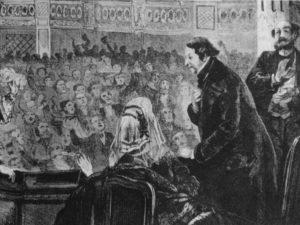 Rossini, aposentado, agradece aos aplausos da plateia (Litografia francesa, séc. XIX).