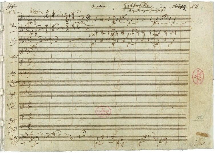 Partitura original para a abertura da Flauta Mágica.