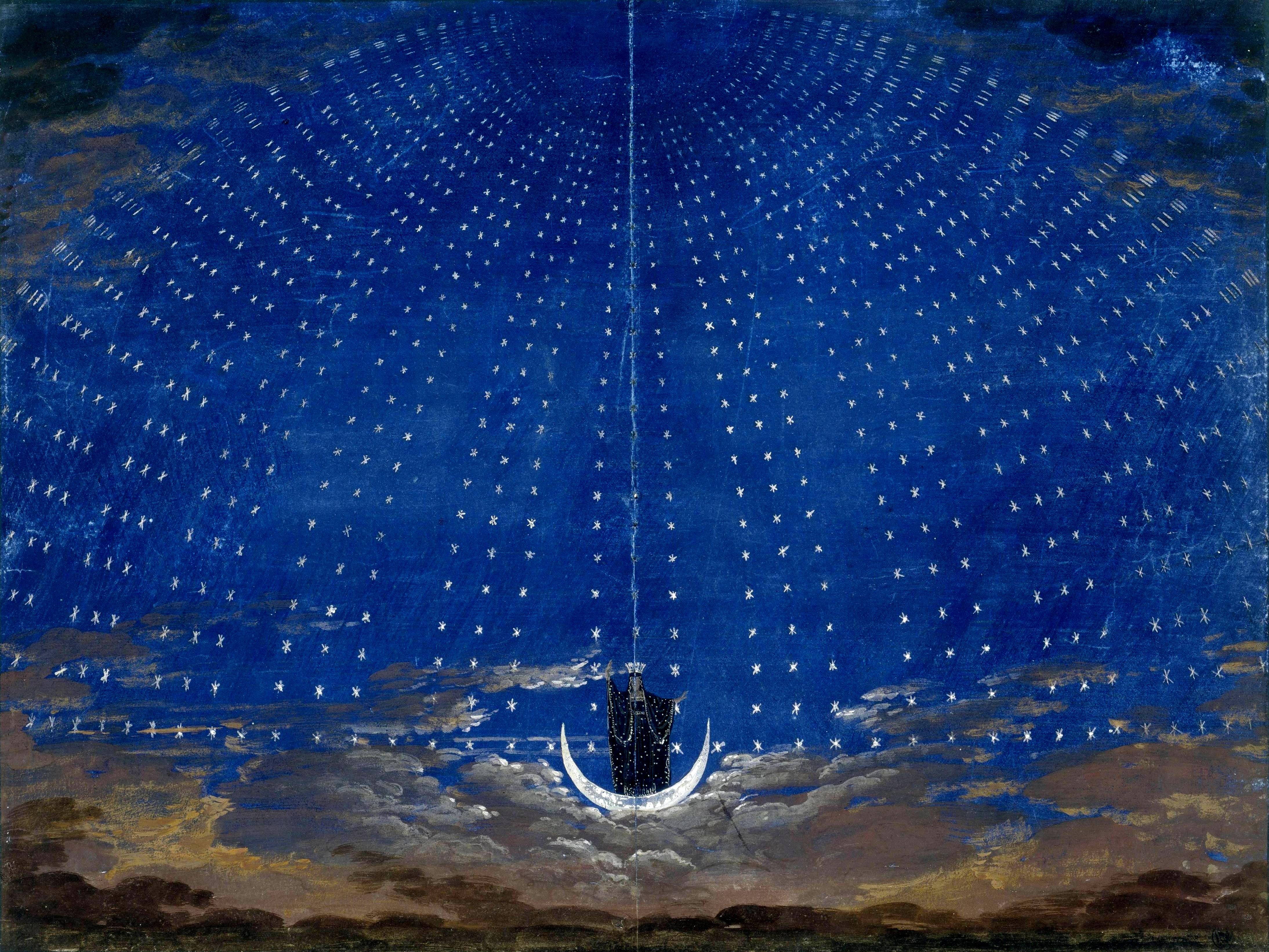 A chegada da Rainha da Noite com cenário de Karl Friedrich Schinkel (1781–1841) para uma produção de 1815.