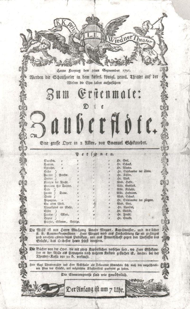 Cartaz para a estreia, em 30 de setembro de 1791.