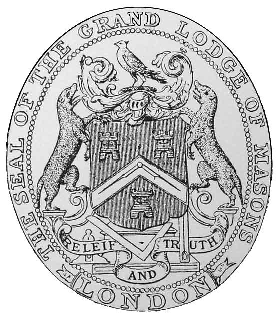 Selo dos primeiros certificados maçônicos ingleses.