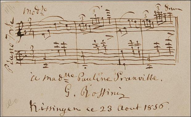 "Valsa para piano em ""Mo[dera]to"", assinada ""A Madlle. Pauline Granville, G. Rossini, Kissingen, le 23 Aout 1856""."