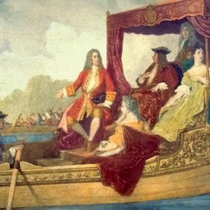 Händel e o rei Jorge I da Inglaterra navegando na barca real pelo rio Tâmisa, em Londres durante a execução da Música Aquática, em 1717. Pintura de Edouard Hamman (1819-1888).