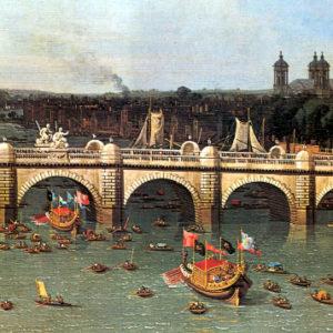 Procissão de barcas diante da Ponte de Westminster, em Londres. Pintura de Canaletto, 1746 (detalhe).