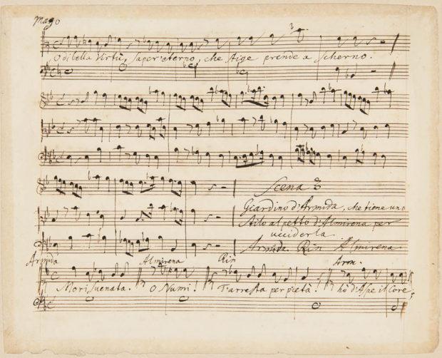Página da partitura original de Rinaldo (1711).