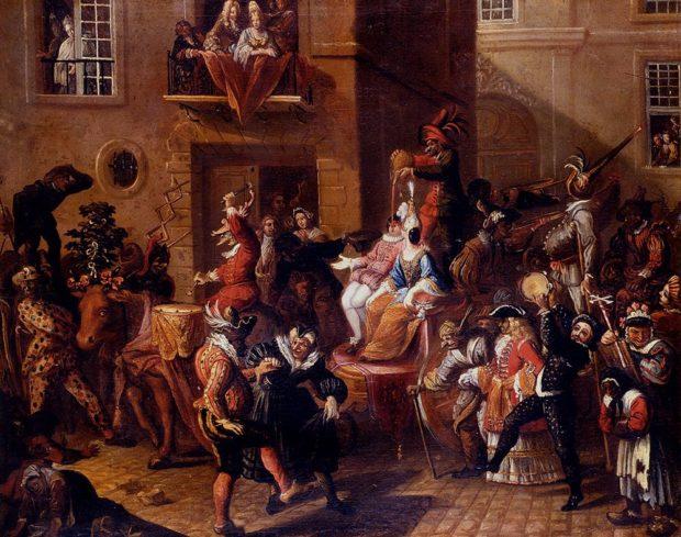 Carnaval com figuras mascaradas em Veneza, por Pierre Bergaigne (1652-1708).