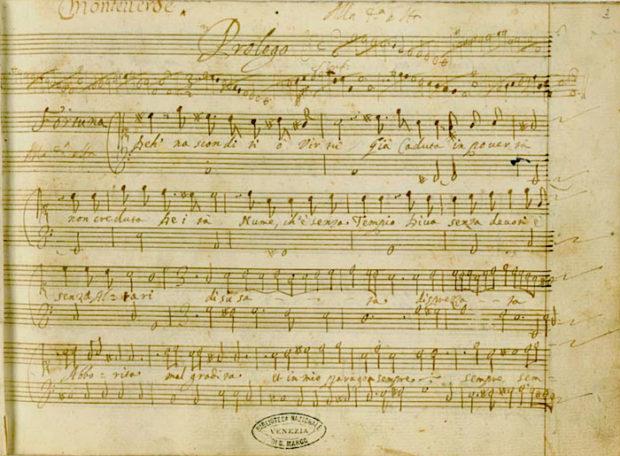 Primeira página do Prólogo do manuscrito de L'incoronazione di Poppea.